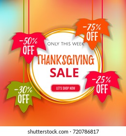 Autumn Thanksgiving  sale poster of discount promo web banner for fall seasonal shopping  with hanging maple leaf. Vector fall leaf sale tags for Shop market poster design. Offer template advertising