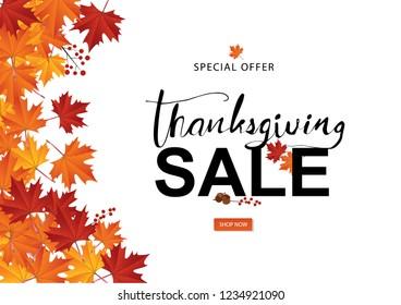 Autumn Thanksgiving Sale Season Vector illustration