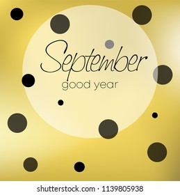 Autumn theme. Cover of a school composition book. Gold glitter. Design of a school album. September is the month. Study.
