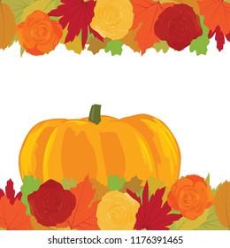 autumn theme, leafs, roses and pumpkin