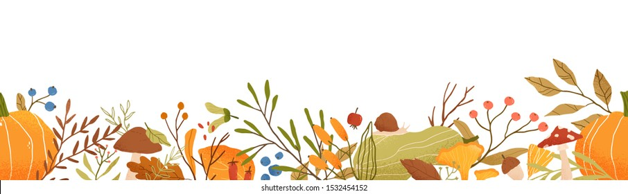 Autumn themed horizontal vector seamless pattern. Fall season nature decorative floral texture. Tree foliage, vegetables and mushrooms flat illustration. Botanical background design with forest flora.
