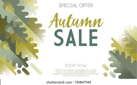 Autumn themed illustration for shopping sale promo poster, outdoor advertisement, leaflet or seasonal invitation. Composition of oak leaves and acorns on white background. Trendy flat style vector.