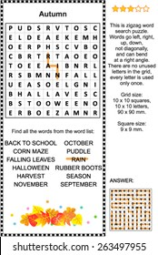Autumn themed zigzag word search puzzle (suitable both for kids and adults). Answer included.