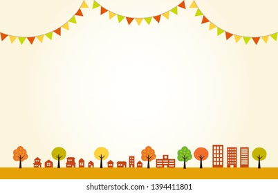 Autumn Townscape and flag decoration  background