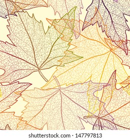 Autumn transparent maple leaves pattern background. Colored art vector autumn leaves pattern.  Fabric texture.