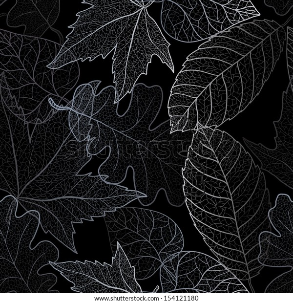 Autumn transparent maple leaves pattern background. Art vector autumn leaves pattern in shades of grey.  Fabric texture.