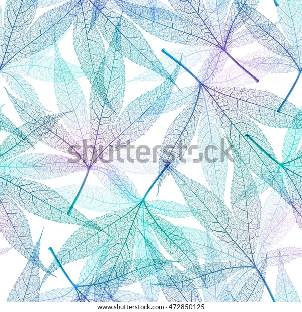 Autumn transparent maple leaves pattern background. Blue art vector realistic leaves pattern. Fabric texture.