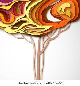 Autumn tree. Abstract paper cut design nature background.