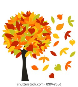 Autumn tree with colorful different leaves. Vector illustration