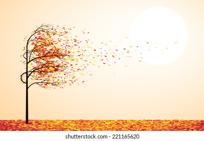 Autumn tree. Eps8. CMYK. Organized by layers. Global colors. Gradient used.