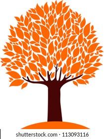 autumn tree isolated on White background. Vector Illustration