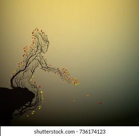 autumn tree looks like man, autumn solitude, plant alive