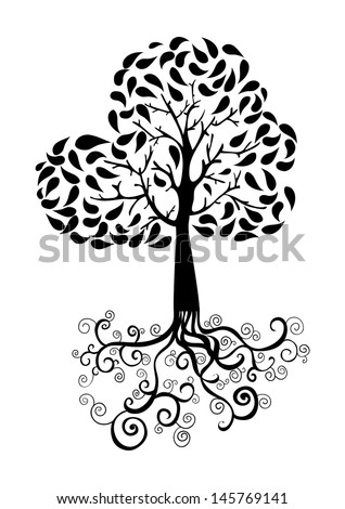 Autumn Tree Roots Foliage Silhouette Vector Stock Vector (Royalty ...