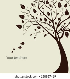 Autumn tree silhouette over white background vector illustration