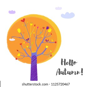 Autumn tree and sky background for the card, vector graphic illustration