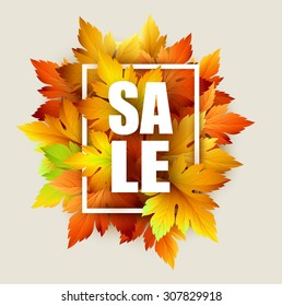 Autumn typographic. Fall leaf. Vector illustration EPS 10