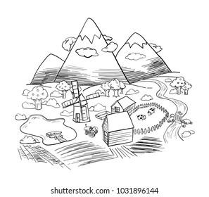 Autumn valley, Mountain landscape vector Eco farm.