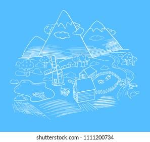 Autumn valley, Mountain landscape vector Eco farm