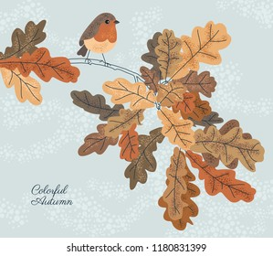 Autumn vector background with colorful leaves and bird