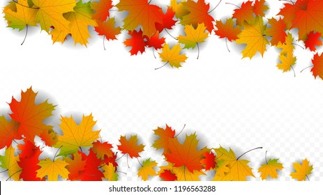 Autumn Vector Background with Golden Falling Leaves. Autumn Illustration with Maple Red, Orange, Yellow Foliage. Isolated Leaf on Transparent Background. Bright Swirl. Suitable for Posters.