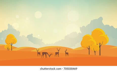 Autumn Vector Background Landscape with Reindeers.