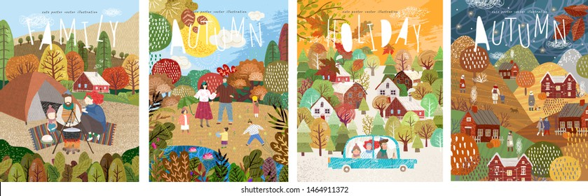 Autumn! Vector cute illustration of a happy family in the fall during the holidays and weekends. Pictures of the landscape with people, city street and hike of mother, father and child with a tent.