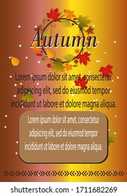 Autumn vector with decors of leaves and a gradation of brown background in A4 size 3000 x 2100