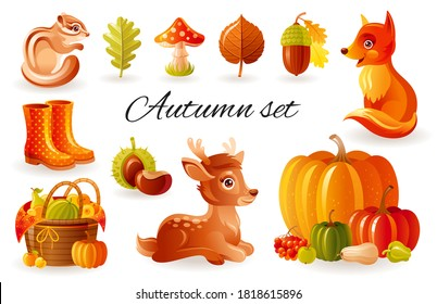 Autumn vector forest animals. Cute fall set. Cool woodland illustration with squirrel, fox, fawn cartoon thanksgiving  background, season, acorn, mushroom, collection, leaf, icon, elements, harv