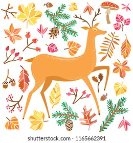 Autumn vector forest deer. Fall nature illustration
