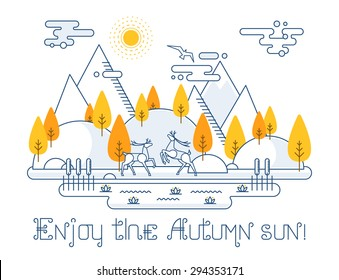 Autumn vector landscape illustration in linear style - forest and mountains, lake with lilies and cane, two deers, hills, clouds. Contour graphic elements for your design