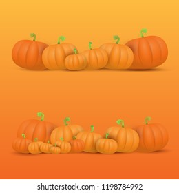 autumn vector orange pumpkins border design template for banners and thanksgiving day backgrounds. vector Pile of pumpkins frame isolated on orange background