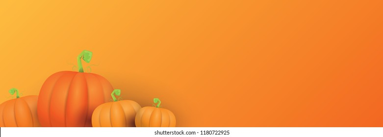 autumn vector orange pumpkins horizontal banner design template for farm market banners and thanksgiving day backgrounds. vector Pile of orange pumpkins frame or border on orange background