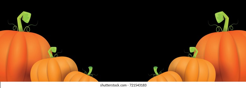 autumn vector orange pumpkins horizontal banner design template for farm market banners and thanksgiving day backgrounds. vector Pile of orange pumpkins frame or border isolated on black background