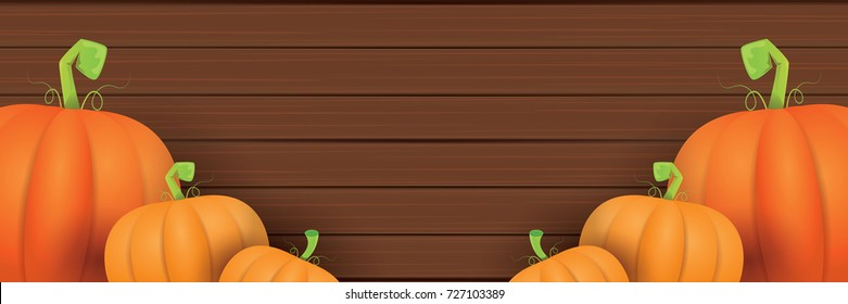 autumn vector orange pumpkins horizontal banner design template for farm market banners and thanksgiving day backgrounds. vector Pile of orange pumpkins frame or border on wooden table background
