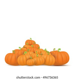 autumn vector pumpkins border design template for banners and thanksgiving day backgrounds.  vector pumpkins frame isolated on white