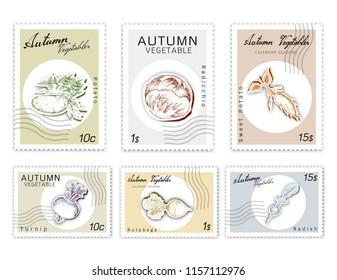 Autumn Vegetables, Post Stamps Set of Hand Drawn Sketch Turnip, Potato, Sweet Potato, Radish, Rutabaga, Radicchio in Trendy Origami Deep Paper Art Carving Style.