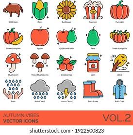 Autumn vibes icons including wild boar, corn, sunflower, popcorn, sliced pumpkin, apple, pear, three mushroom, cranberries, jam, wind, storm cloud, rain boots, raincoat.