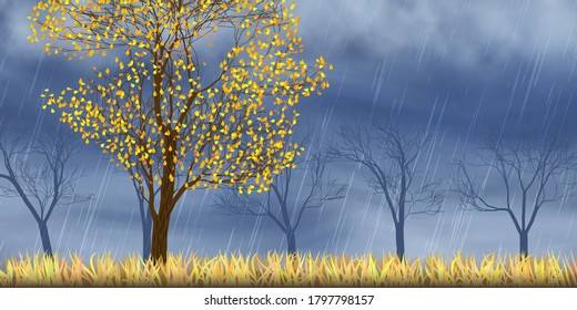 Autumn view, trees. Dramatic autumn sky, It is raining. Stormy clouds in dark sky, vector illustration, EPS10