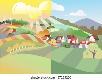 autumn in village