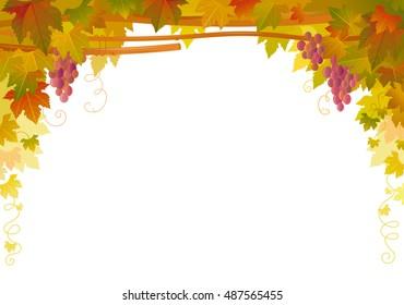 Autumn Vineyard poster. Fall Harvest pattern on white background. Winemaking banner, wine making farm. Vineyard, Grape fruit, falling leaves. Agriculture farming seasonal vector illustration concept.