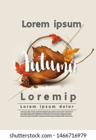 Autumn web banner vector sale layout  background  decorate for shopping template thanksgiving seasonal backgrounds