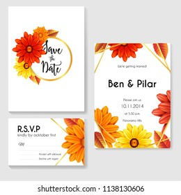 autumn wedding invitation with flowers and gold line frame