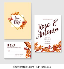 autumn wedding invitation leaves and berry