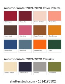 Autumn Winter 2019 - 2020 Color Palette Example. Future Color Trend Forecast. Saturated and Classic Neutral Color Samples Set. Palette Guide with Named Color Swatches Included in EPS File.