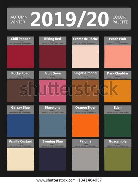 Fall Color Palette 2020.Autumn Winter 2019 2020 Fashion Color Stock Vector Royalty