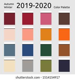 Autumn winter 2019 Colors Palette. Fashion trend. Palette fashion colors guide with named color swatches