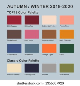 Autumn / Winter 2019-2020 trendy color palette. Fashion color trend. Palette guide with named color swatches. Saturated and classic neutral color samples set. Vector Illustration