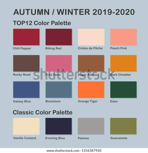 Fall Color Palette 2020.Autumn Winter 20192020 Trendy Color Palette Stock Vector