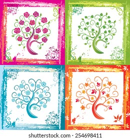 Autumn, winter, spring and summer decorative trees vector illustration