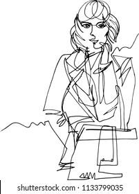 Autumn, woman in coat with bag, fashion illustration, minimalist style with one continuous line,  hand at face, second hand inpocket, wind develops a hair, a calm confident look, global march